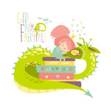 Cute princess sitting on pile of books and hugging the dragon Stock Photo