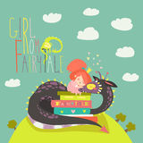 Cute princess sitting on pile of books and hugging the dragon Royalty Free Stock Images