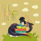 Cute princess sitting on pile of books and hugging the dragon Stock Photography
