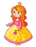 Cute Princess stand on a white background. Girl with a crown and a flower in her hand. Vector illustration of a princess in a cartoon style. The picture on the Royalty Free Stock Image