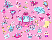 Cute princess sticker set with carriage Stock Photography