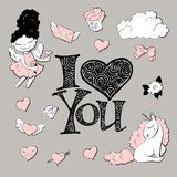 Cute princess sticker set with unicorn. Royalty Free Stock Photos