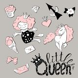 Cute princess sticker set with unicorn. Royalty Free Stock Image