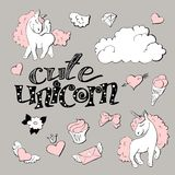 Cute princess sticker set with unicorn. Royalty Free Stock Photo