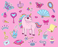 Cute princess sticker set with unicorn Stock Image