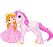 Cute Princess and Unicorn Stock Photos