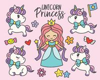 Cute Princess and Unicorns Vector Illustration. stock illustration