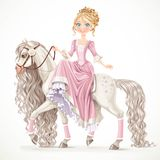 Cute princess on a white horse with a long mane Royalty Free Stock Images