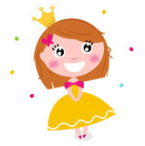 Cute Princess in yellow dress isolated on white. Little cute happy princess. Vector cartoon Illustration Royalty Free Stock Photos