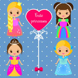 Cute princesses in colorful dresses in kawaii style. Girls in queen costumes. Vector collection of cartoon female characters Royalty Free Stock Photography