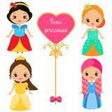 Cute princesses in colorful dresses in kawaii style. Girls in queen costumes. Vector collection of cartoon female characters.  Royalty Free Stock Photography