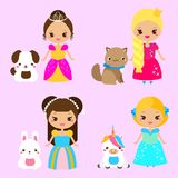 Cute princesses with lovely pets. Vector illustration in kawaii style. Cute princesses with lovely pets. Girls and dog, cat, rabbit, unicorn. Vector illustration royalty free illustration