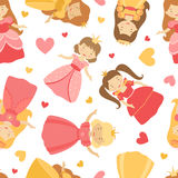 Cute princesses pattern Royalty Free Stock Photography