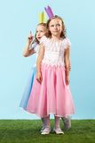 Cute princesses on promenade Royalty Free Stock Image