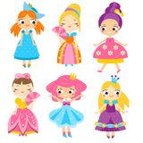 Cute princesses set. Girls in queen dresses. Vector collection of cartoon female characters. For kids and children Royalty Free Stock Images