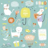 Cute print illustration with spring ans summer Royalty Free Stock Photos
