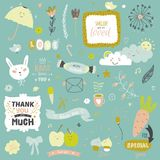 Cute print illustration with spring ans summer Royalty Free Stock Photo
