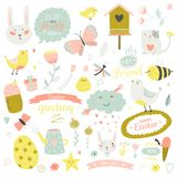 Cute print illustration with spring ans summer Stock Image
