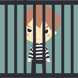 Cute prisoner in the jaill. Stock Photo