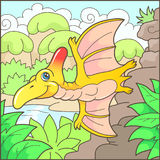Cute pterodactyl funny illustration. Cartoon cute pterodactyl funny illustration Royalty Free Stock Photos
