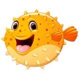 Cute puffer fish cartoon Stock Images
