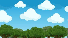 Cute and Puffy Cartoon Clouds Hovering in a Blue Sky Above the Trees