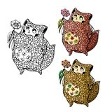 Cute puffy cat with butterflies in her stomach gives a flower royalty free illustration