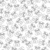 Cute pug dog in black and white seamless pattern. Coloring paper, page, book stock illustration