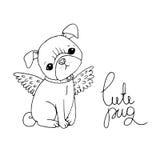 Cute Pug. Dog. stock illustration