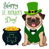 Cute Pug Dog In St. Patrick`s Day Leprechaun Costume: Green Top Hat, Vest And Bow Tie, Pot Of Gold Filled With Coins, With Stock Photo