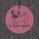 Cute pug and flower background Royalty Free Stock Images