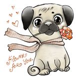 Cute pug with rose royalty free illustration