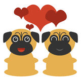 Cute pugs in love Royalty Free Stock Photo