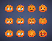 Cute pumpkin  avatar expression set Royalty Free Stock Photos