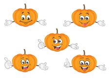 Cute pumpkin character set. cartoon vector illustration stock illustration