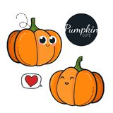 Cute pumpkin characters. royalty free stock photography