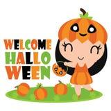 Cute pumpkin girl in pumpkins garden  cartoon illustration for halloween card design Royalty Free Stock Photos