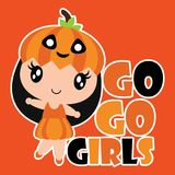 Cute pumpkin girl smiles  cartoon illustration for halloween card design Royalty Free Stock Image