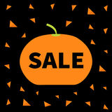 Cute pumpkin. Halloween big sale banner poster card. Flat design. Black background. Orange triangle. Stock Photography