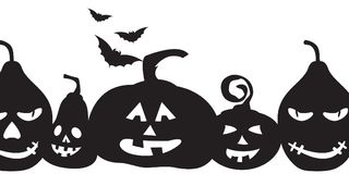 We wish you a happy halloween!. Cute pumpkin silhouette and flying bats over white. Halloween clean design Stock Photo