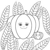 Cute pumpkins adult coloring book page. Mother Pumpkin and baby in whimsical garden. Royalty Free Stock Images