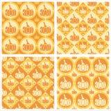 Cute pumpkins patterns. Set of 4 cute pumpkins patterns Stock Photo