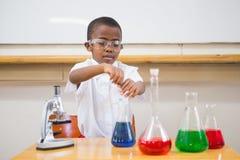Cute pupil looking at liquids Stock Image
