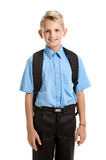 Cute pupil with schoolbag Royalty Free Stock Images