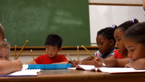 Cute pupils in classroom at school stock video footage