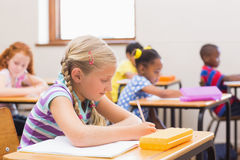 Cute pupils drawing at their desks Stock Image
