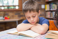 Cute pupils reading books in library Stock Photos