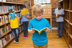 Cute pupils reading books at library Royalty Free Stock Photography