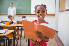 Cute pupils smiling at camera in classroom Royalty Free Stock Photos