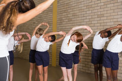 Cute pupils warming up in PE uniform Stock Photography